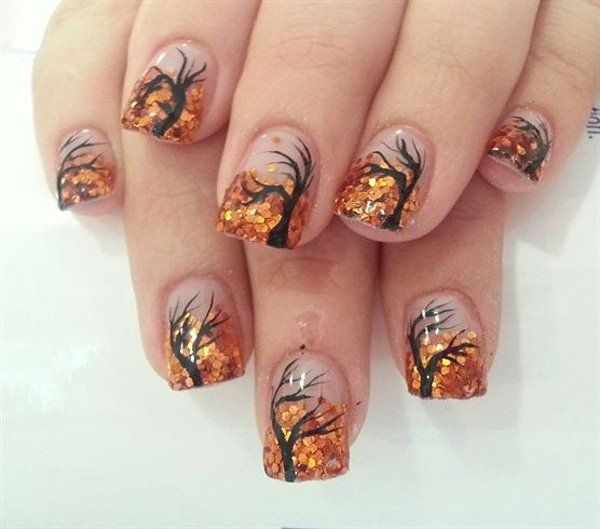 A wonderful looking fall tree nail art design using clear background, black polish for the tree and orange sequins for the leaves. Nail Design, Nail Art, Nail Salon, Irvine, Newport Beach