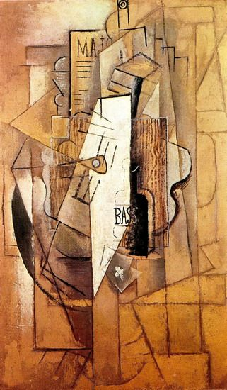 "Pablo Picasso - ""Bouteille de Bass, guitare, as de trefle"". 1912"