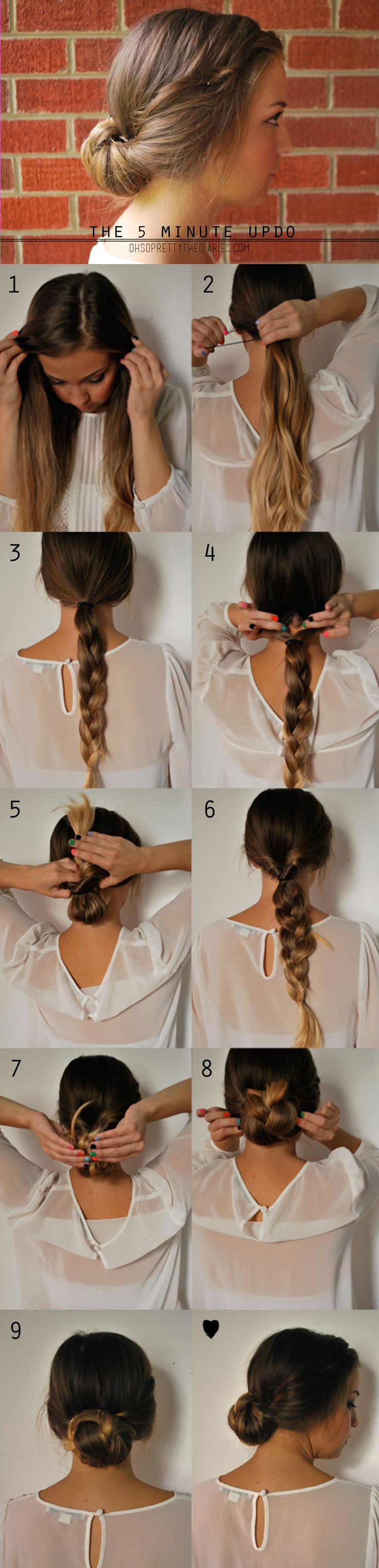 7. Roll the bottom of the braid into itself, upward, towards the top hair tie. 8. After you've rolled it all the way up, pin it in place with some bobby pins. Loosen the braid and pin the sides of the braid to your head. Just do what you need to. Hairs sticking out everywhere?