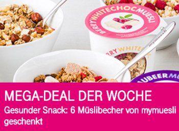 Telekom-Megadeal: 510 Gramm Müsli für 3,90 Euro frei Haus https://www.discountfan.de/artikel/essen_und_trinken/telekom-megadeal-510-gramm-muesli-fuer-390-euro-frei-haus.php Magenta meets Müsli: Zahlende Telekom-Kunden erhalten in dieser Woche sechs Müsli-to-go-Becher von Mymuesli gratis, für den Versand fallen 3,90 Euro an. Mymuesli: Sechs Müsli-to-go-Becher für Telekom-Kunden für 3,90 Euro (Bild: Telekom.de) Um die Müsli-to-go-Becher zum Nulltarif plus Versand zu