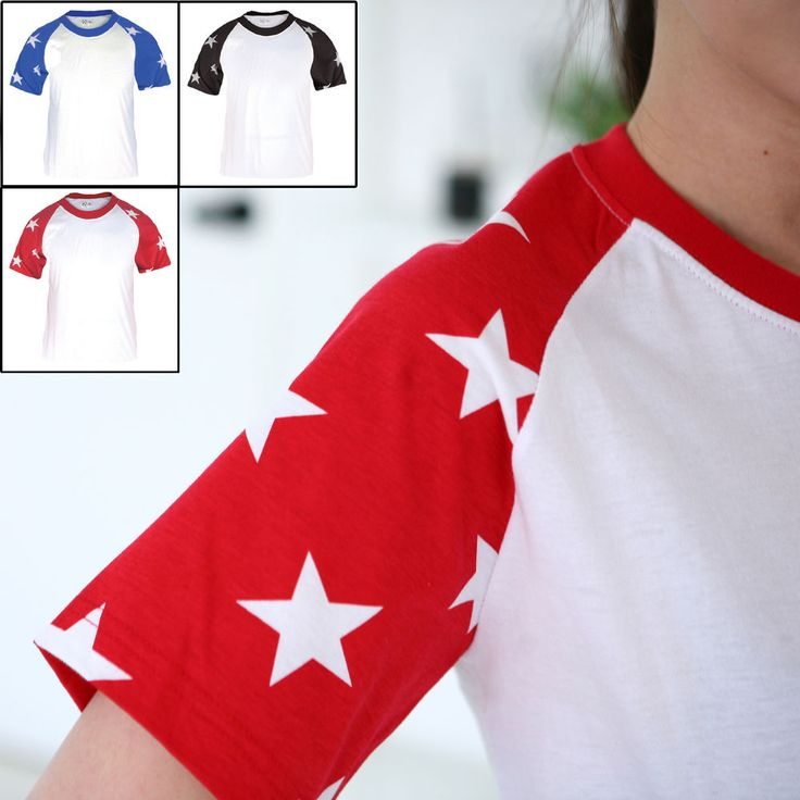 New Mens Raglan Baseball Tee Jersey Short Sleeve Star Casual Shirts T-Shirt Top #hellobincom #ShortSleeveRaglanTShirt