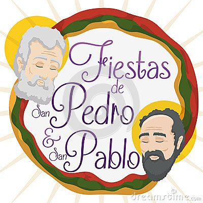Promotional poster for Feast of Saints Peter and Paul written in Spanish in Colombia with the faces of them and Neiva`s colors flag around it.