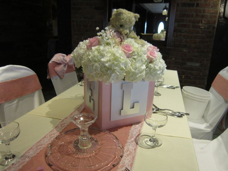 Baby block centerpiece with hydrangea, roses, babies breath, and a teddy bear!