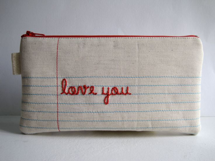 Lined Paper Fabric Pencil Case, Pencil Pouch. Hand Embroidered. Handwritten…