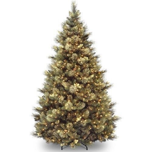 Artificial Christmas Tree 7.5' Tall 86 Flocked Pinecones 750 Clear Lights Stand  #ArtificialChristmasTree