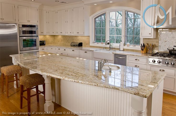 Pictures of kitchens with colonial cream granite google for 7 x 9 kitchen cabinets