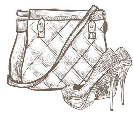 esboço de bolsa e sapatos de mulheres — Ilustração vetorial #20037743