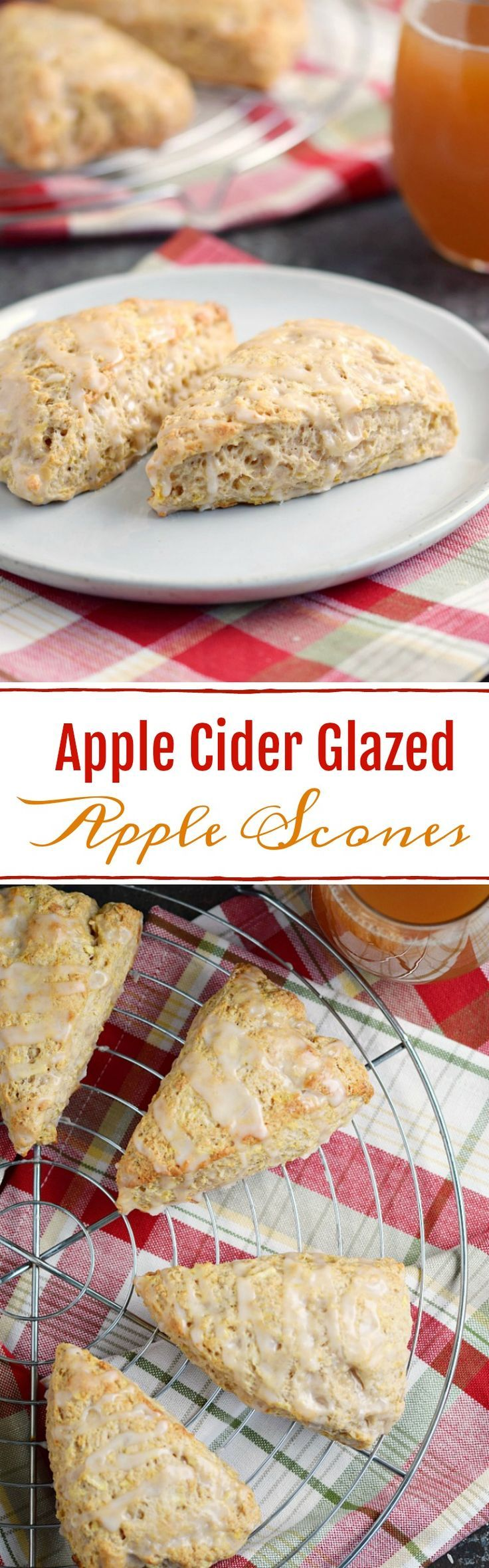 These fluffy and delicious Apple Cider Glazed Apple Scones are an easy morning breakfast, or perfect for an afternoon treat! COPYRIGHT ©️️ 2017 COOKING WITH CURLS