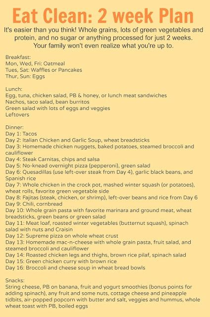 Eat Clean with this two week eating clean meal plan (it's free!). The perfect way to eat healthy but still feeding the family. Recipes for 2 weeks of lunch, din