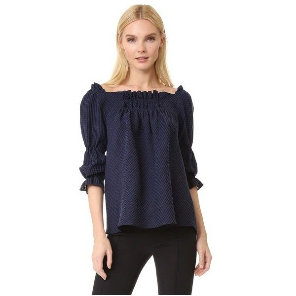 Amelia Toro A-Line Loose Fit Off Shoulder Blouse ($955) ❤ liked on Polyvore featuring tops, blouses, dark navy, smock top, loose blouse, off shoulder tops, loose fit blouse and blue off shoulder top