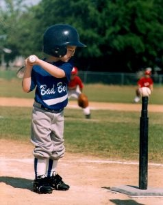 Tee ball player. I hope my two young boys will like baseball. #baseball #sports #teeball