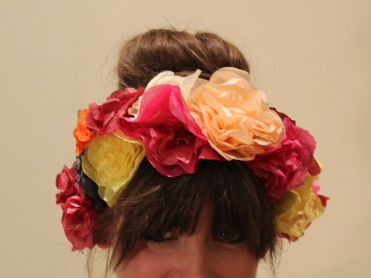Paper floral crown making hen party