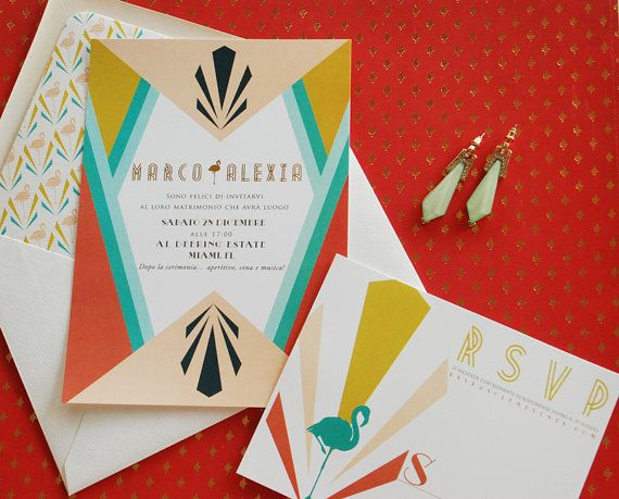 Art Deco Invitation Suite   Invitation & Reply Card by umama143