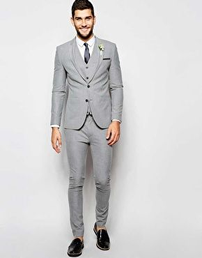 ASOS Wedding Super Skinny Suit in Grey