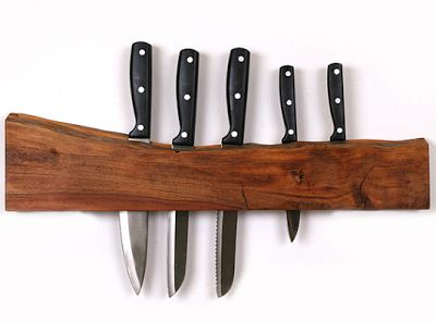 wall-mounted knife rack with slot for knives - New Zealand native timber