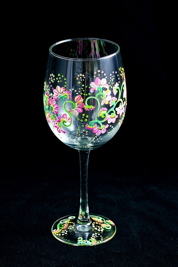 Floral Pink Handpainted Wine Glasses Hostess Gift by ZoraidasArt, $45.00
