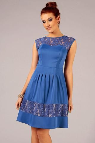 Blue Sleeveless Cocktail Dress with Lace Details