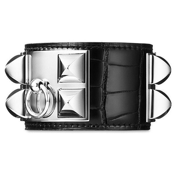 Hermes leather bracelets, Hermes leather jewelry (£1,305) ❤ liked on Polyvore featuring jewelry, bracelets, hermes, accessories, black, hermes bangle, hermès, hermes jewelry, leather bangle and leather jewelry