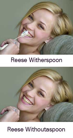 Harrison Abelson - This picture is a hilarious example of a visual pun. The image takes Reese Witherspoon's name literally, and shows her with and without a spoon in her hand. http://www.urlesque.com/2010/04/20/18-goofy-and-hilarious-visual-puns/