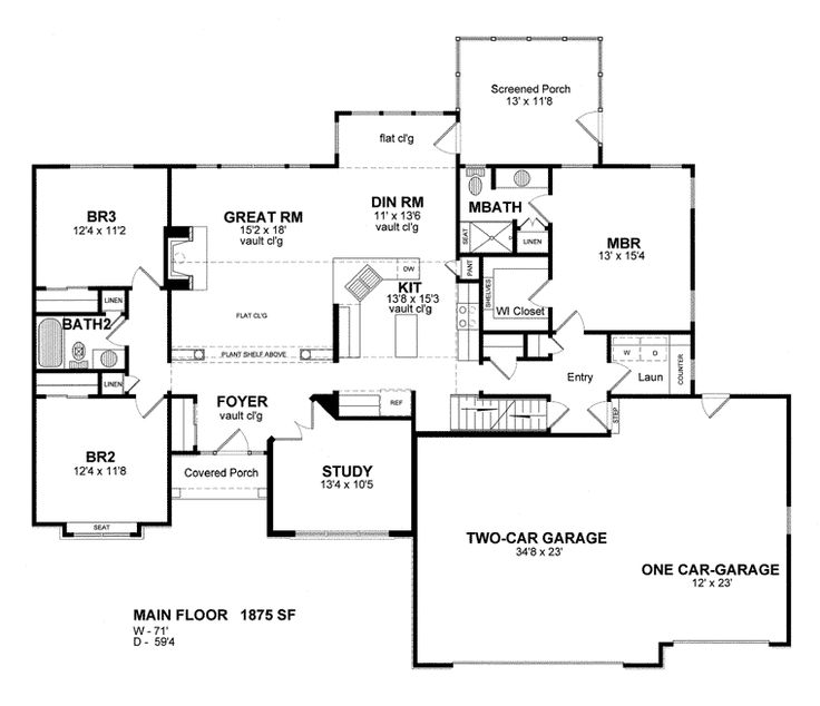 House plan 94183 cottage ranch traditional plan with for Ranch floor plans with bonus room