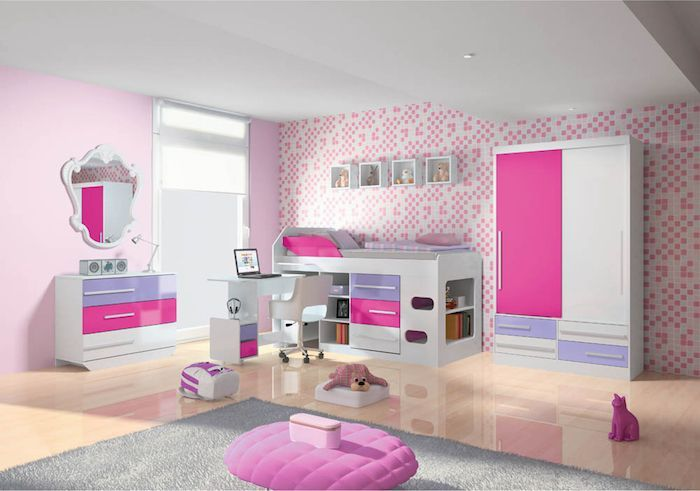 Jugendzimmer Madchen Modern Spiegel Mit Schrank Rosa Hocker Bett