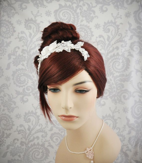 Ivoor Lace bruids hoofdband  White Lace Bridal hoofd stuk