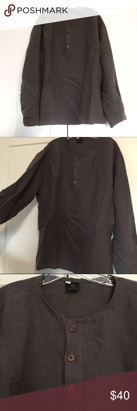 Men's Eco-friendly Hemp Shirt Not listed brand* High quality hand crafted shirt by Intertwined Designs / see their Etsy for their shop. Earth friendly and organically made in the USA. Size L. Breathable but not thin and cheap. Sleeves look good rolled up. Just needs a steam/ironing to get wrinkles out! Bundle to save! Price is lowest✨ Vans Shirts Casual Button Down Shirts