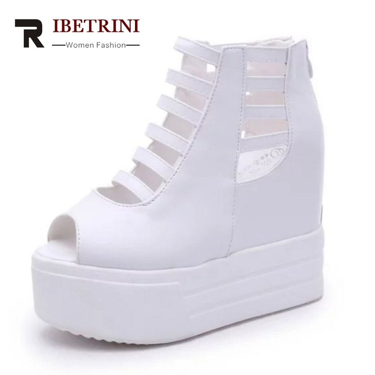 RIBETRINI New Fashion Thick Platform Super High Heels Wedges Woman Shoes Women Sexy Cut Outs Zip Up Black White Sandals