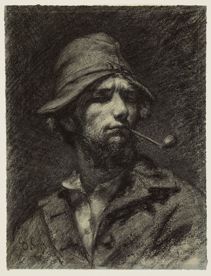 Gustave Courbet (French,1819-1887), Self Portrait, c. 1849. Black chalk, 11 ½ x 8 ¾ in. Purchased through the gift of James Junius Goodwin. 1950.605. Wadsworth Atheneum Museum of Art
