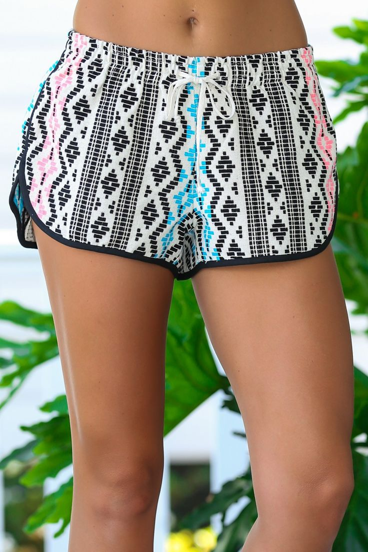 Judith March Up Your Alley Black Jacquard Shorts at reddressboutique.com