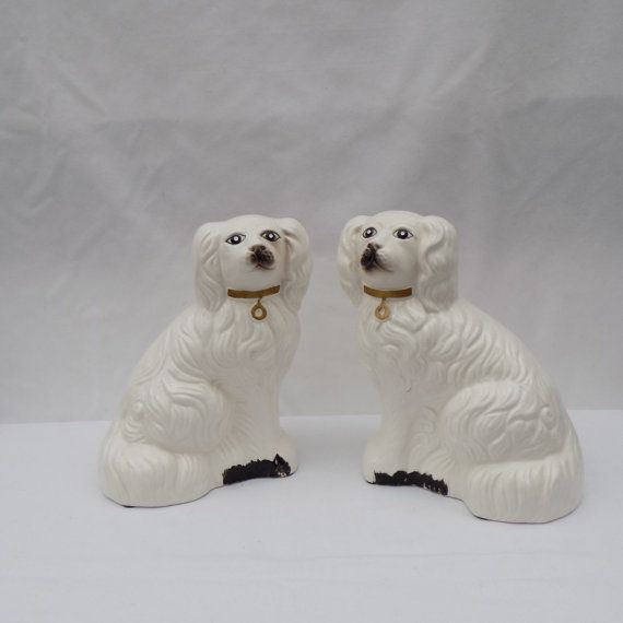 Two White English Staffordshire Dogs Vintage Pair Of