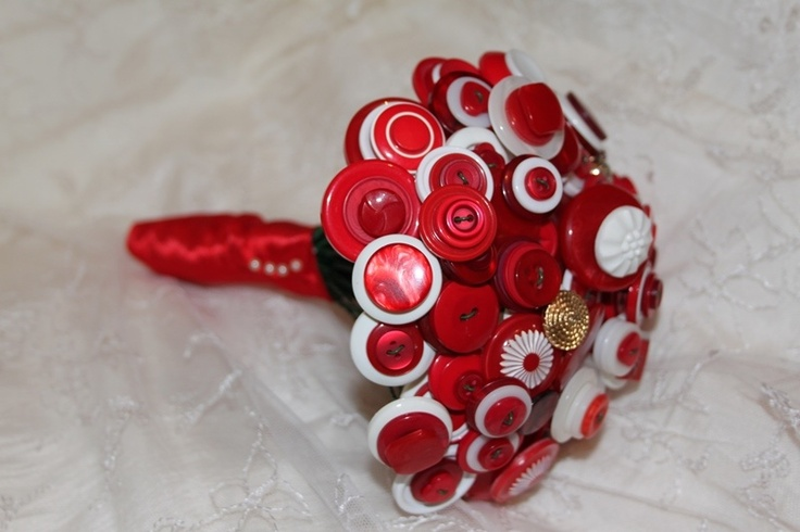 Red and white button bouquets - Forever button bouquets