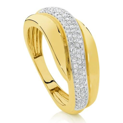 Kiss - 9 carat yellow gold diamond wave tdw0.32 hi/i1