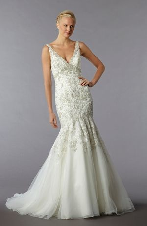 so beautiful! Sophia Moncelli - V-Neck Mermaid Gown in Embroidery
