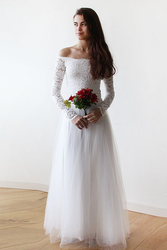 Off-The-Shoulder Ivory Lace and Tulle Wedding Maxi Dress