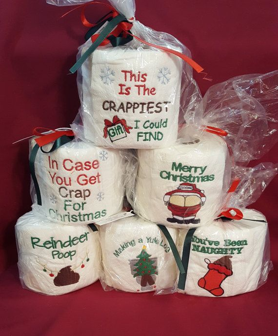 CHRISTMAS EMBROIDERED Toilet paper. Gag Gift Or White Elephant Gift Making A Yule Log Mooning Santa Joke Toilet Paper Crap For Christmas