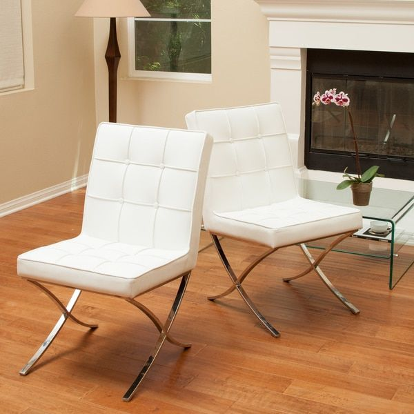 Christopher Knight Home Milania White Leather Dining Chairs (Set of 2) | Overstock.com Shopping - The Best Deals on Dining Chairs