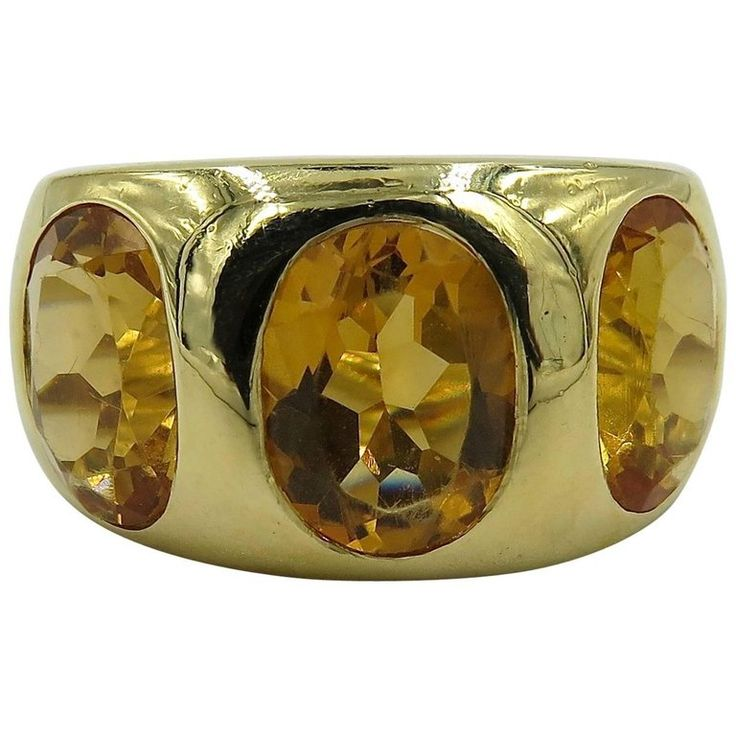 Citrine and Yellow Gold Three-Stone Gypsy Ring 1