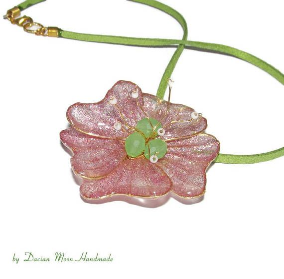 Playful Spring pendant resin jewelry pink jewelry spring