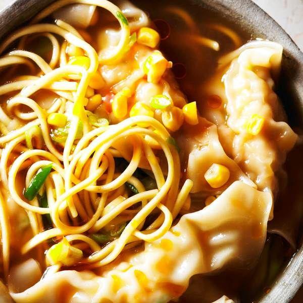 Chicken and sweetcorn dumpling soup