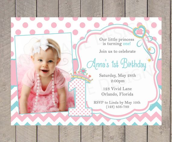 Princess Birthday Invitation, Girl Birthday, Aqua and Pink, With Photo, Chevron, Polka Dots 1st, 2nd, 3rd First, Second, Blue - K003 on Etsy, $18.00