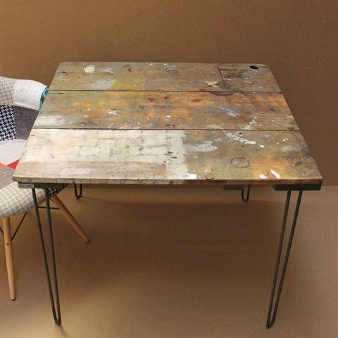 Reclaimed Wood Kitchen Dining Table Mid Century Hairpin Legs