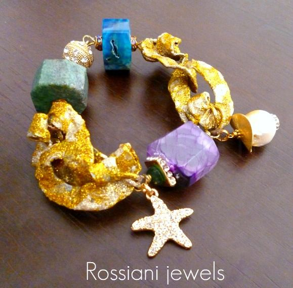 Lucky star, bracelet - tormaline, blue giade, pearls, amethist - Rossiani Jewels - Italian handmade jewels - Made in Italy