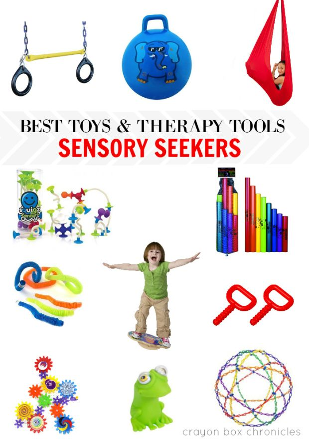 Holiday Gift Guide - Best toys and therapy tools for sensory seekers, sensory processing disorder, autism by Crayon Box Chronicles.                                                                                                                                                                                 More