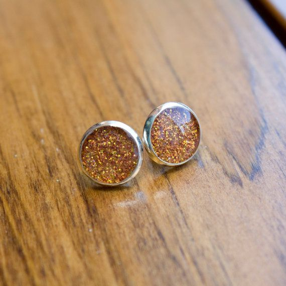 Sparkly Resin Filled Stud Earrings  Silver Plated  by HowlOwl.