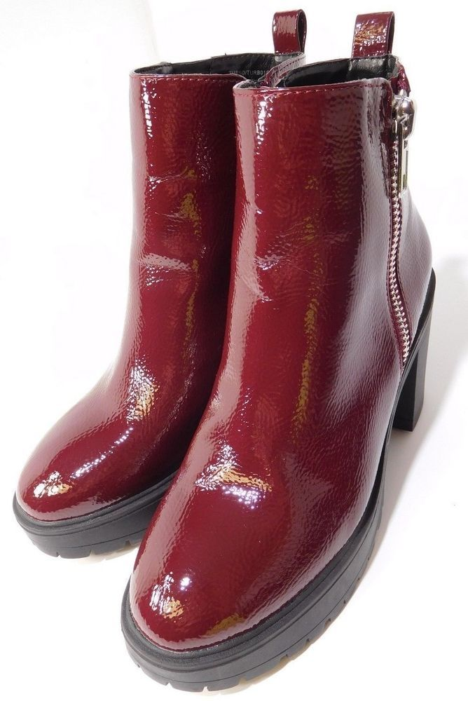 62bc4eb6321 Women s Steve Madden Burgundy Turbo Patent Leather Boots Booties Us 7.5M NEW   SteveMadden  Booties