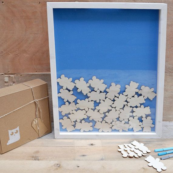 Wood frame guest book for baptism with 60 pieces by mywoodydinner