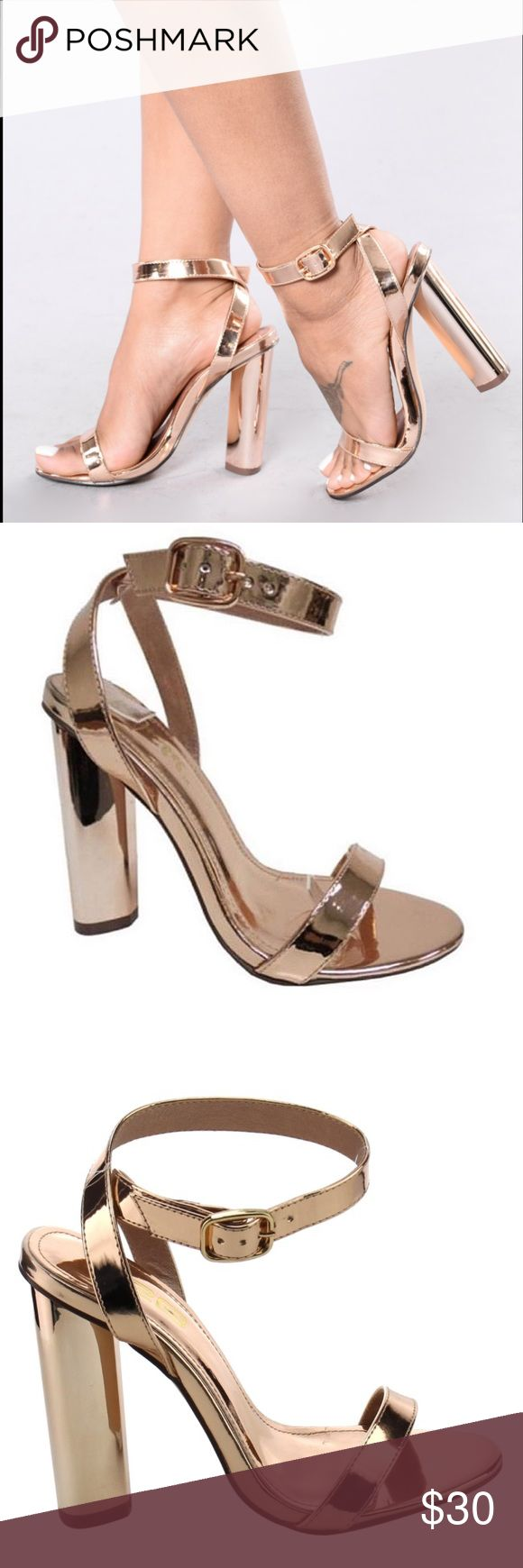 Lustful Rose Gold Designed with criss cross strap ankle strap,adjustable buckle closure, round toe shape, padded insole, single sole and chunky heel.  Material: Faux leather (man-made)  Measurement: Heel 4.25″  Closure: Ankle Strap  Fit: True to size Shoes Heels