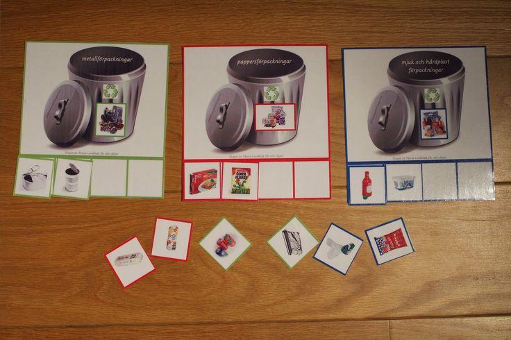 Min blogg om allt mellan himmel och jord: Montessorimaterial: källsortering Ett källsorteringsmaterial för barn där man sorterar bilder på skräp till olika soptunnor.