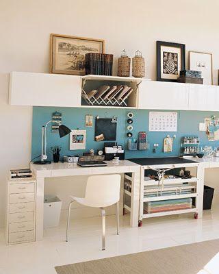 """office..peg board """"backsplash"""" above desk"""